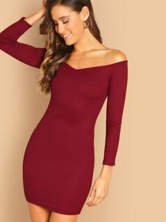 Off Shoulder Rib Knit Slim Fitted Dress