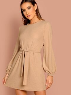 Knot Front Lantern Sleeve Solid Dress
