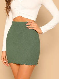 Lettuce Trim Rib Knit Bodycon Skirt
