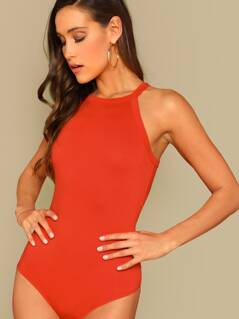 Neon Orange Form Fitted Halter Bodysuit