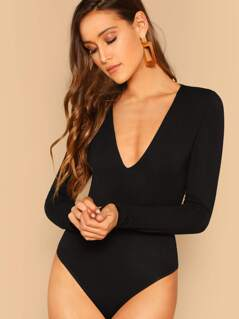 Plunging Neck Form Fitted Bodysuit