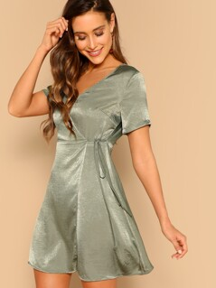 Surplice Wrap Self Tie Satin Dress