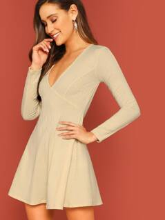 Plunging Neck Fit & Flare Rib-knit Dress