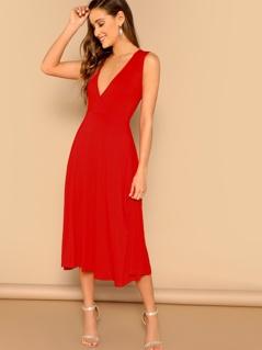 Plunging Neck Pocket Side Fit & Flare Dress