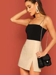 Zip Back Split Hem Solid Skirt