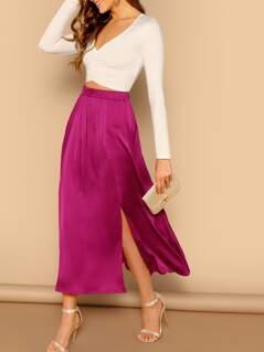 Split Hem Solid Satin Skirt