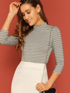 Mock-neck Striped Slim Fitted Tee