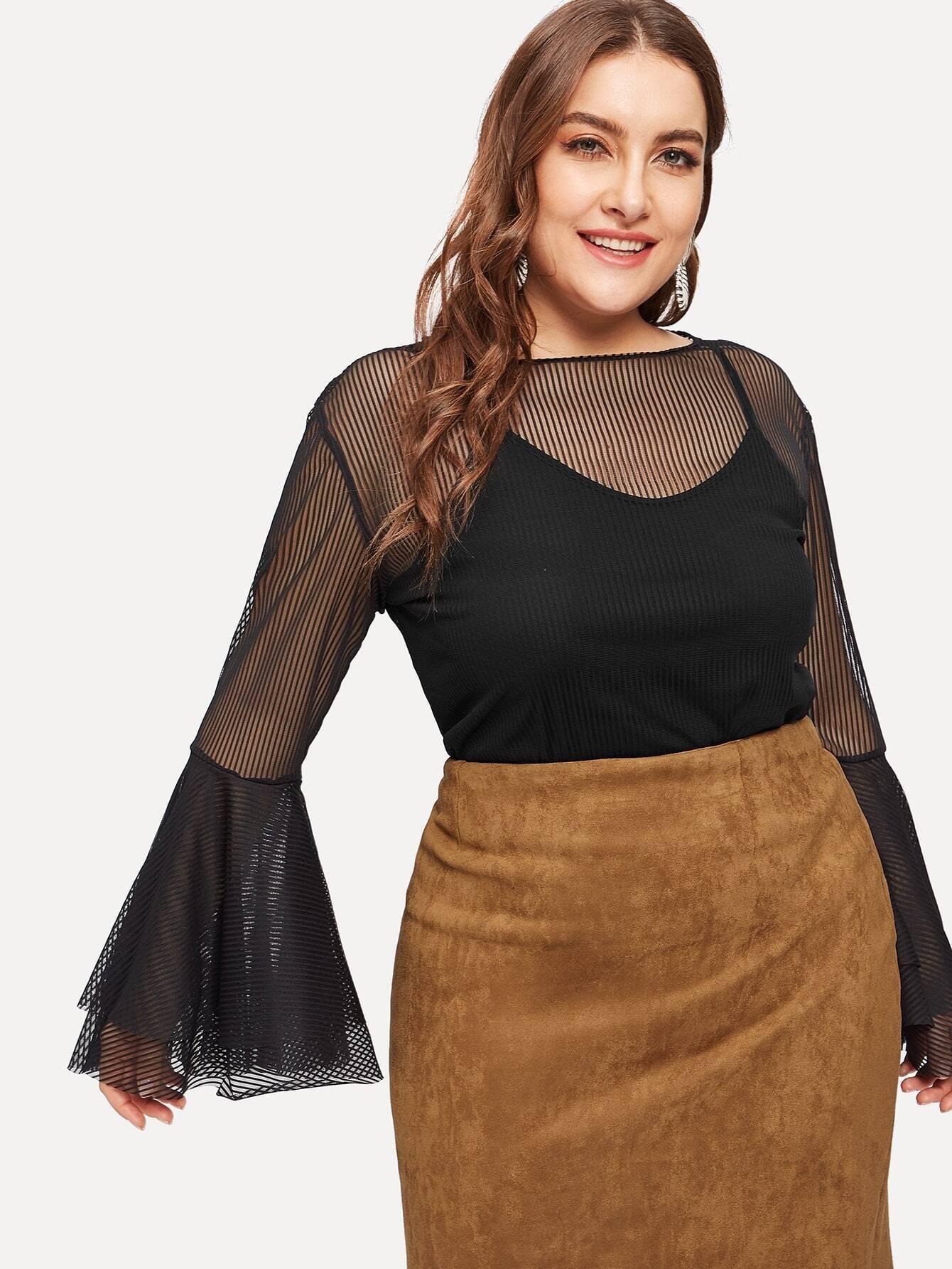 Купить Размера плюс стильная блуза с оборками на рукавах и топ на бретелях, Franziska, SheIn