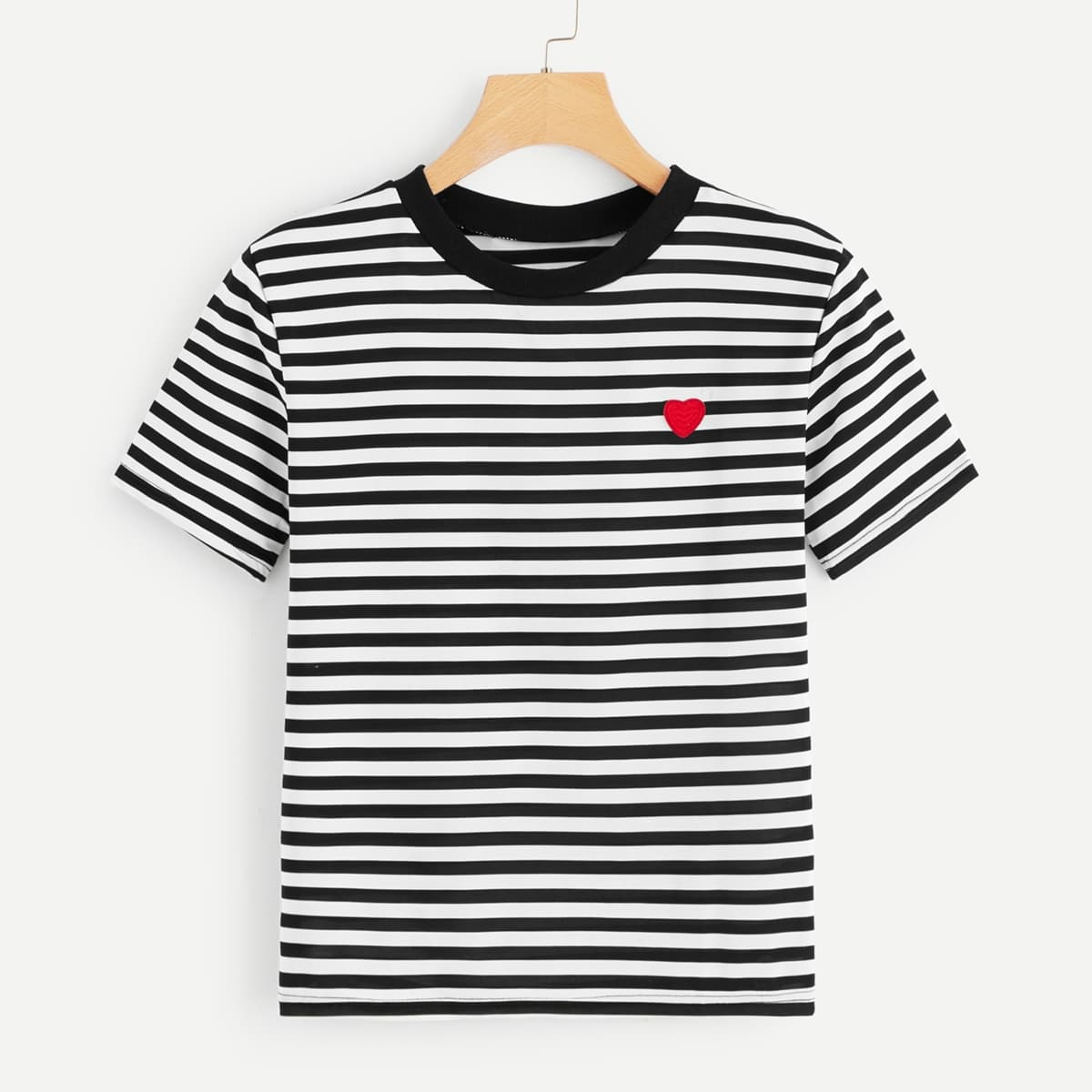 SHEIN / T-Shirt mit Herz Muster und Streifen