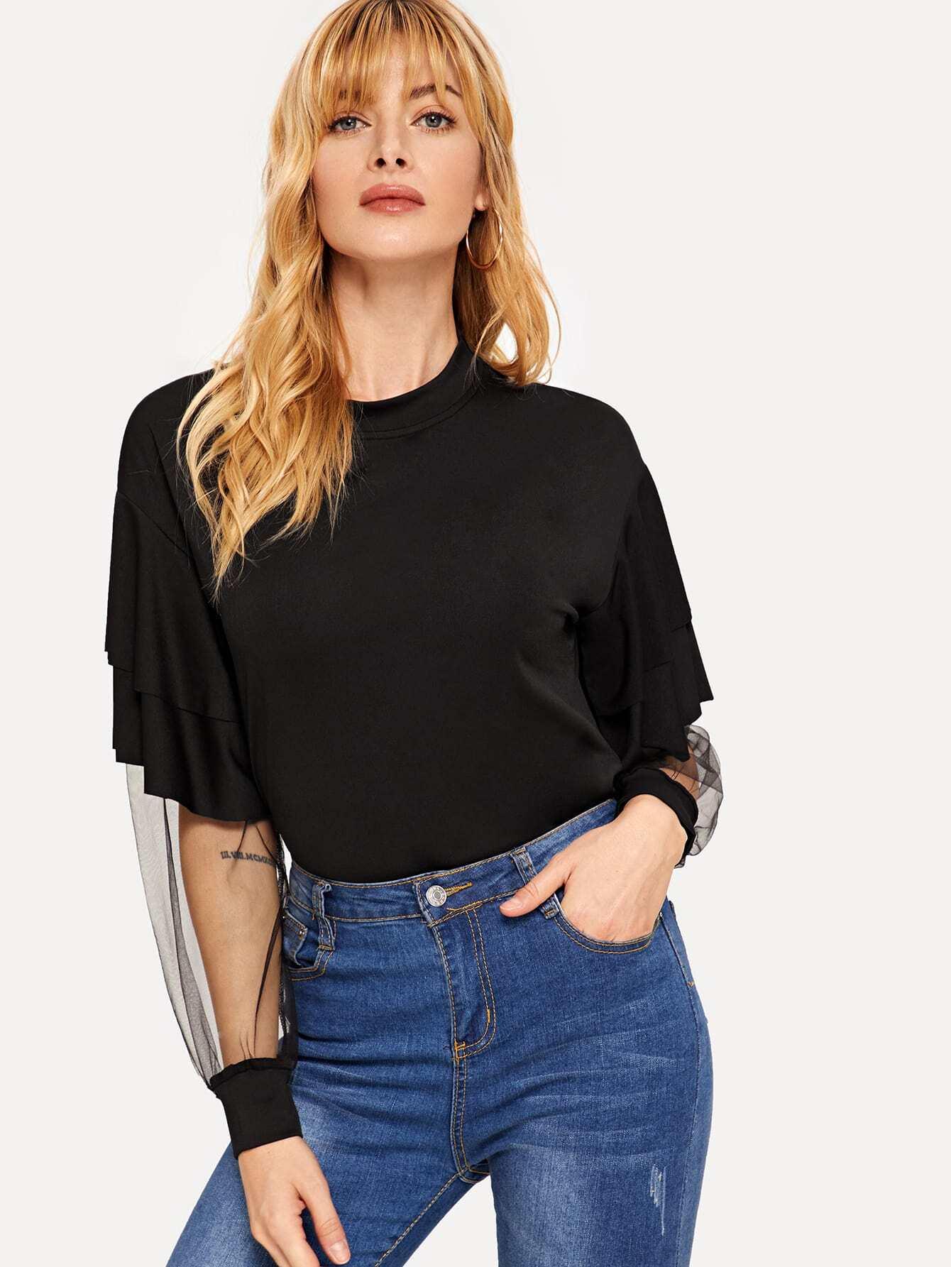 Купить Контрастная сетчатая футболка с оборками, Masha, SheIn