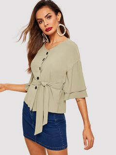 Tiered Sleeve Button Front Belted Top