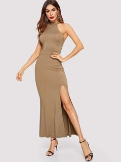 Keyhole Back Slit Hem Halter Bodycon Dress