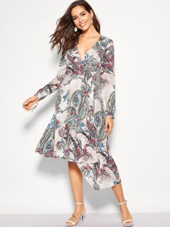 Ornate Print Asymmetrical Hem Knotted Dress