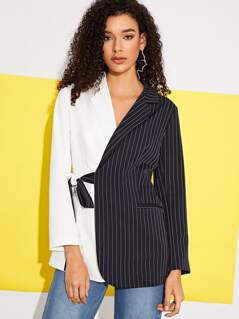 Cut-and-sew Striped Belted Blazer
