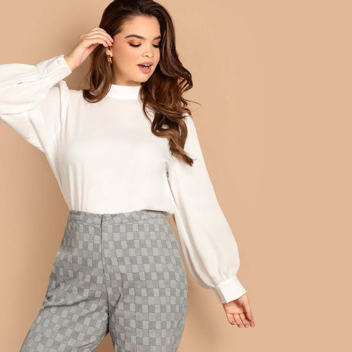 Wit Casual Vlak Grote maten blouses Knoop