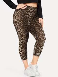 Plus Leopard Print Crop Leggings