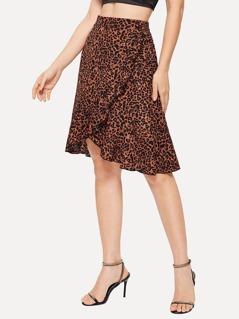 Asymmetrical Ruffle Hem Leopard Print Skirt