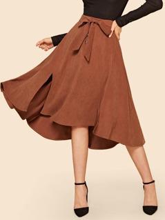 80s Slit Hem Tied Waist Flare Skirt