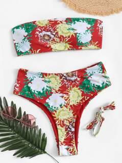 Floral Bandeau With High Waist Bikini Set