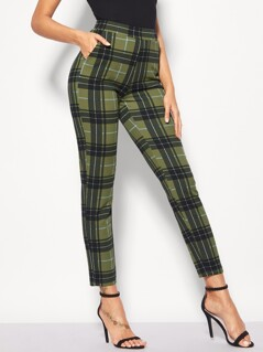 Slant Pocket Plaid Carrot Pants