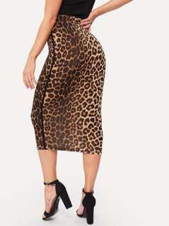 Striped Sideseam Leopard Pencil Skirt