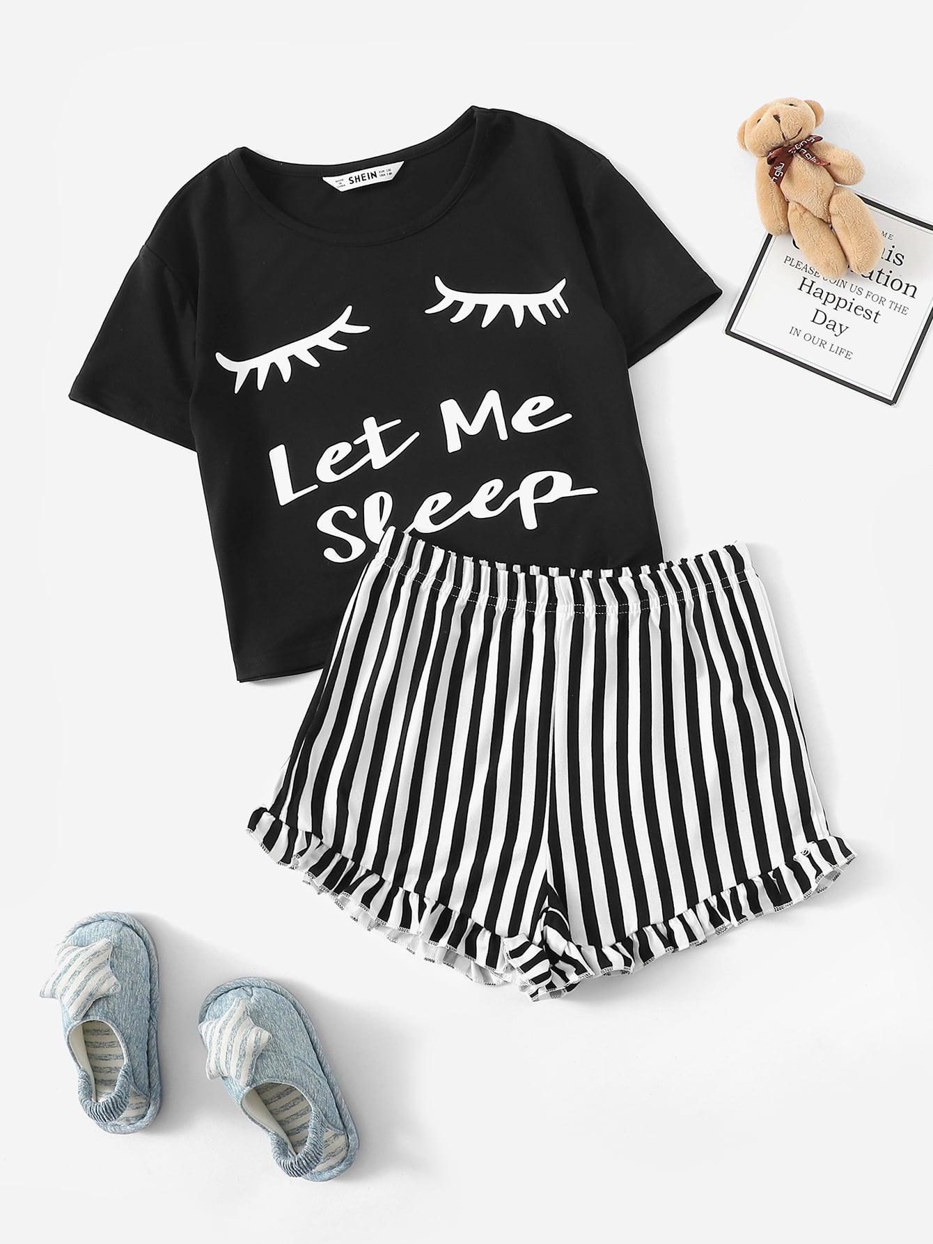 Купить Пижамный комплект топ с текстовым принтом и шорты в полоску для девочек, null, SheIn