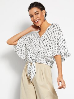 Knot Front Flounce Sleeve Poker Print Blouse