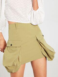Oversized-pocket Bodycon Skirt