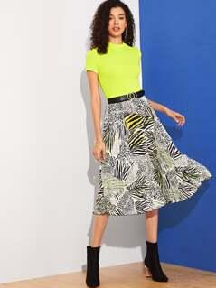 Leopard & Zebra Print Pleated Skirt Without Belt