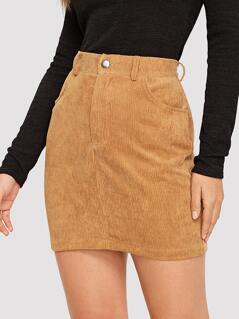 Slant Pocket Cord Bodycon Skirt