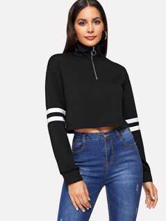 Crop Zip Half Placket Striped Sleeve Pullover