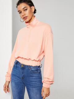 Zip Half Placket Elastic Hem & Cuff Pullover