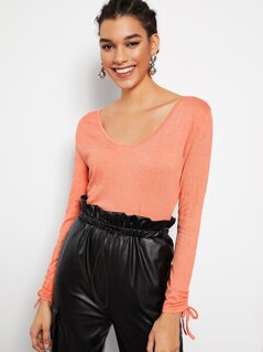 Scoop Neck Drawstring Cuff Top