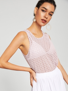 Semi Sheer Crochet Tank Top Without Bra
