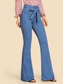Waist Belted Solid Flare Jeans