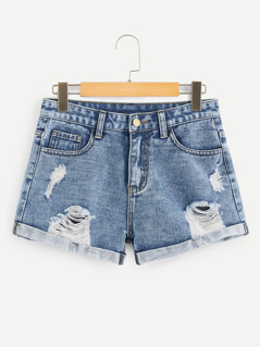Ripped Roll Up Hem Denim Shorts