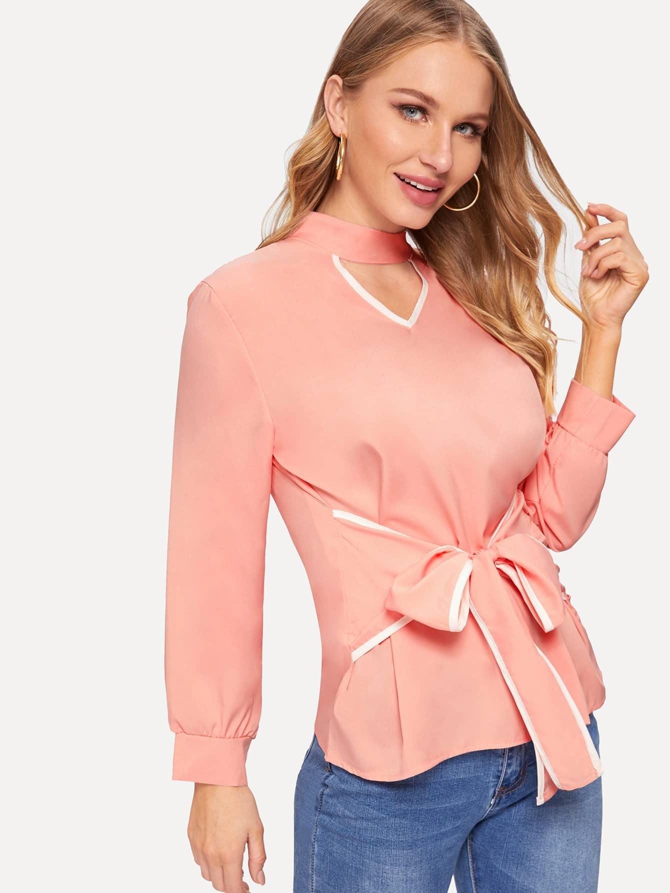 Купить Вырезать воротник блузка спереди бант, Sasha O, SheIn