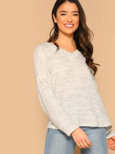 Heathered Knit V-Neck Pullover Jumper Sweater