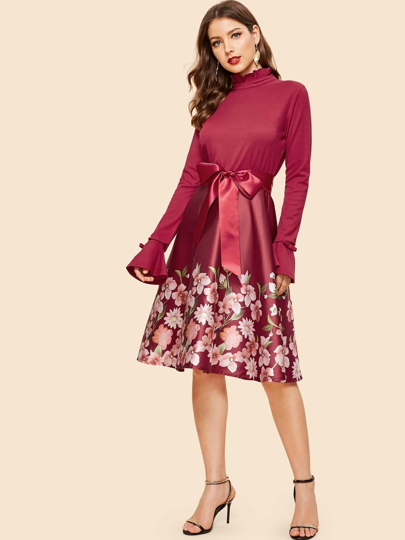 Купить 50s платье с поясом и цветочным принтом, Debi Cruz, SheIn