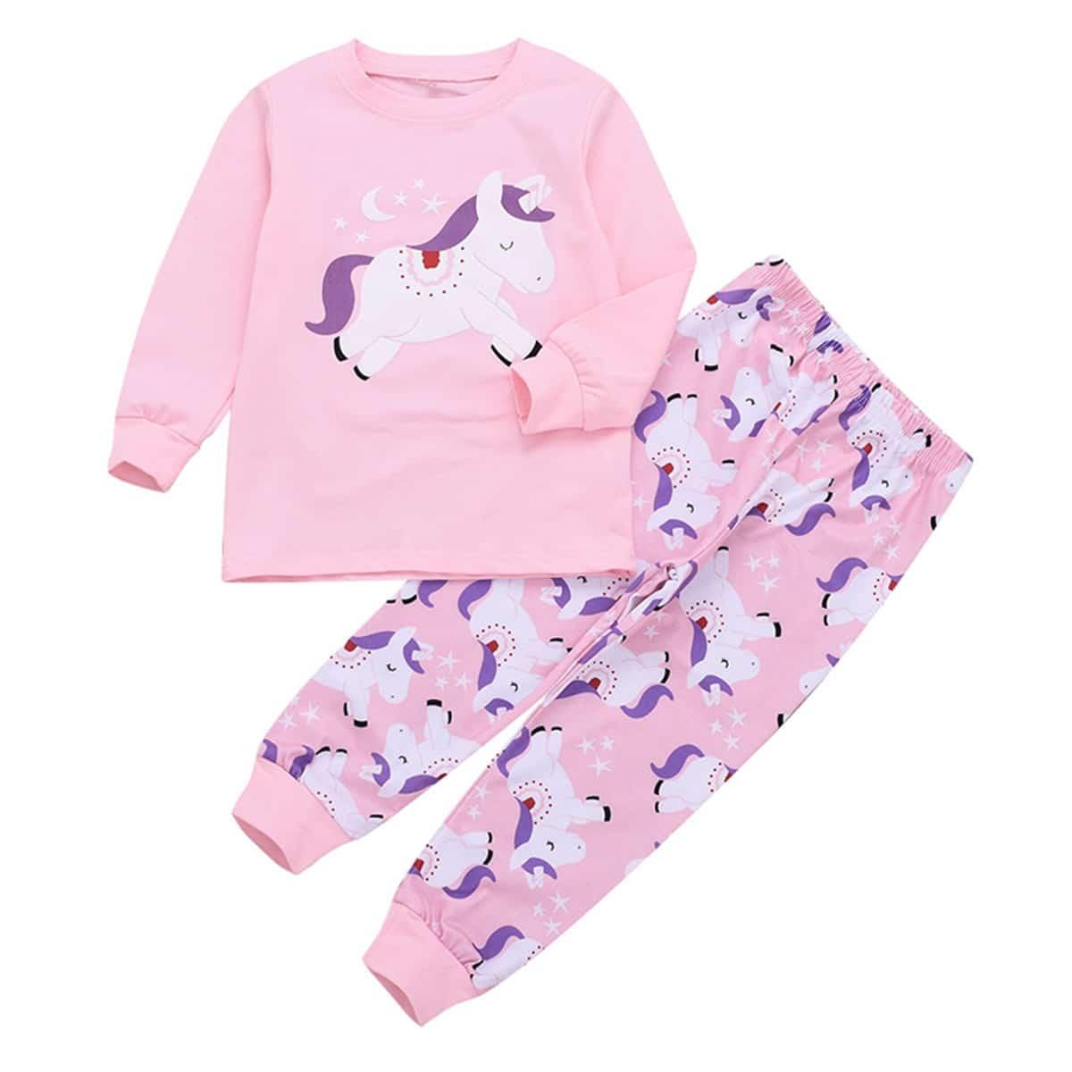 Футболка и брюки с принтом единорога для маленьких девочек от SHEIN