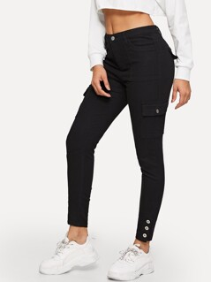 Button Hem Flap Pocket Skinny Jeans