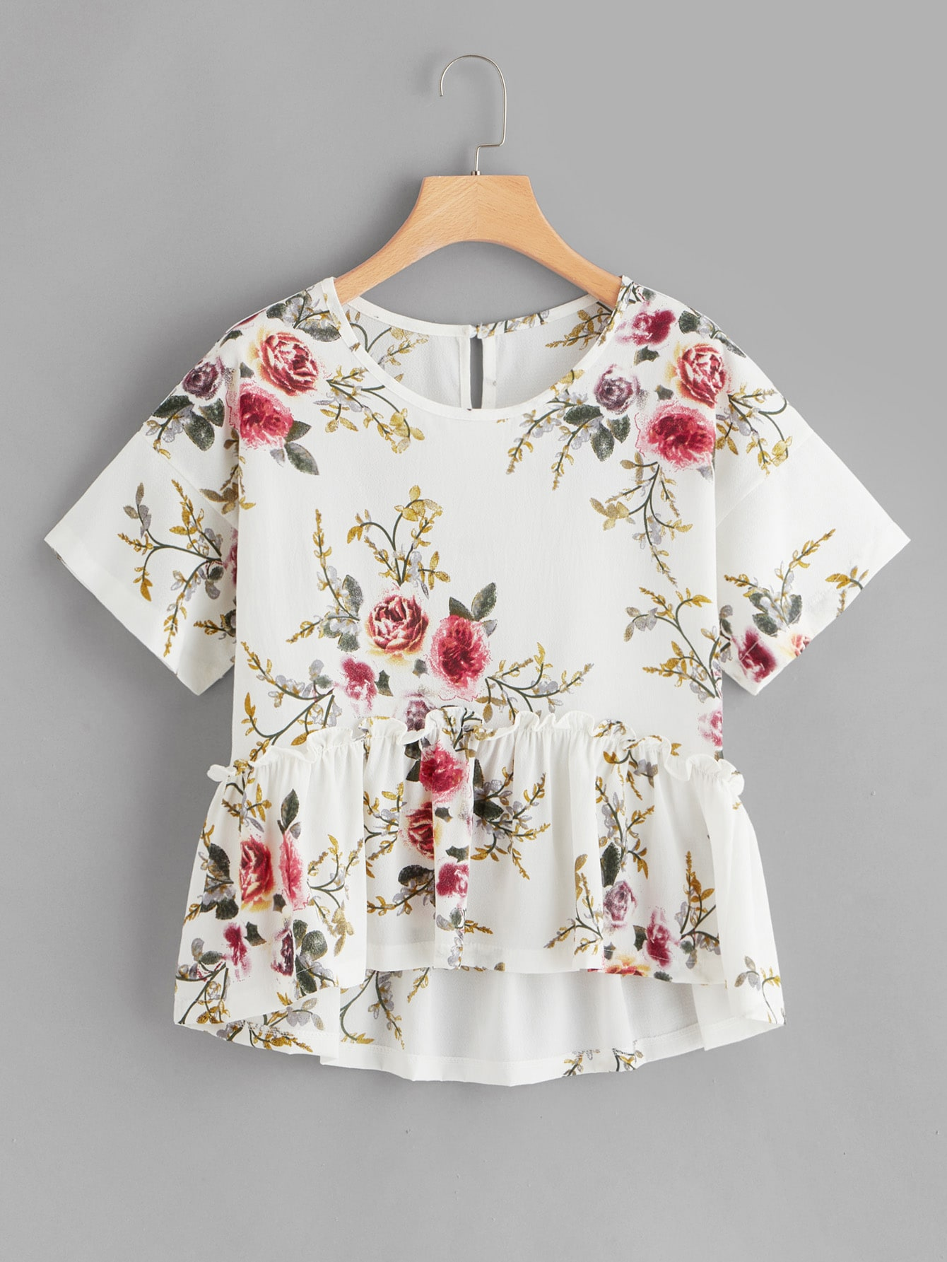 Купить Цветочная блузка с оборкой, null, SheIn