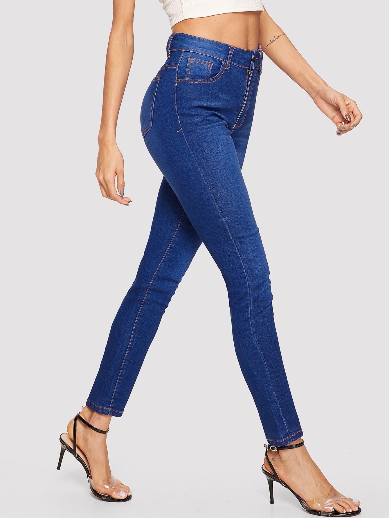 Купить Выбеленные облегающие джинсы с контрастной отделкой, Andy, SheIn