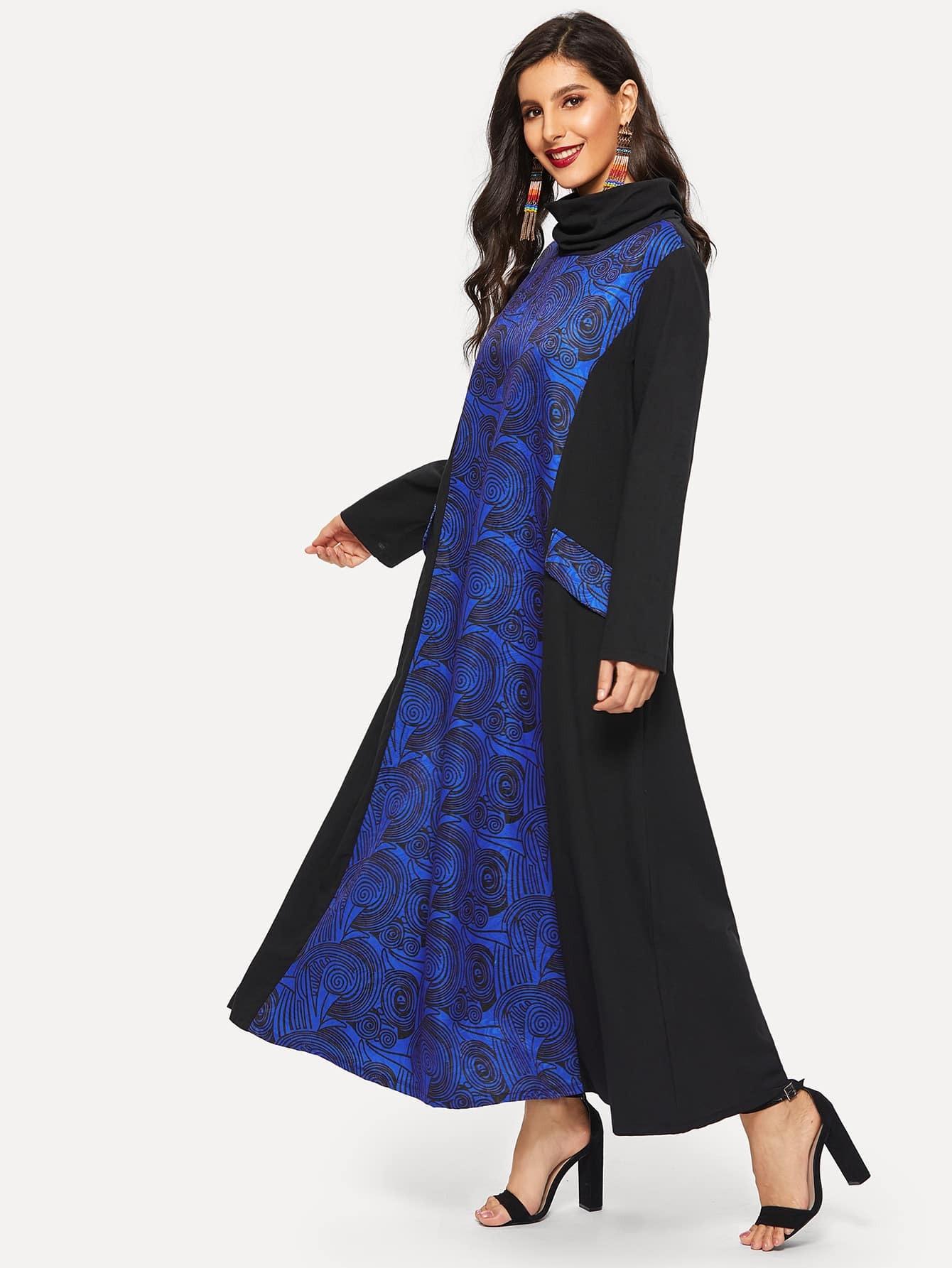 Купить Длинное платье с высоким воротником и графическим принтом, Jeane, SheIn
