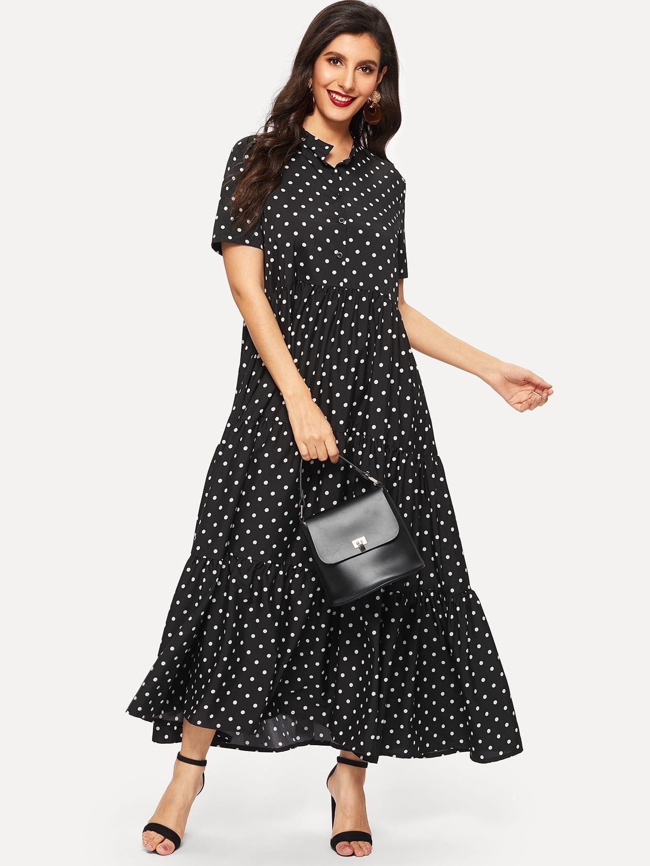 Платье в горошек с пуговицами SheIn