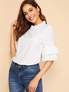 Keyhole Back Ruffle Trim Bell Sleeve Top