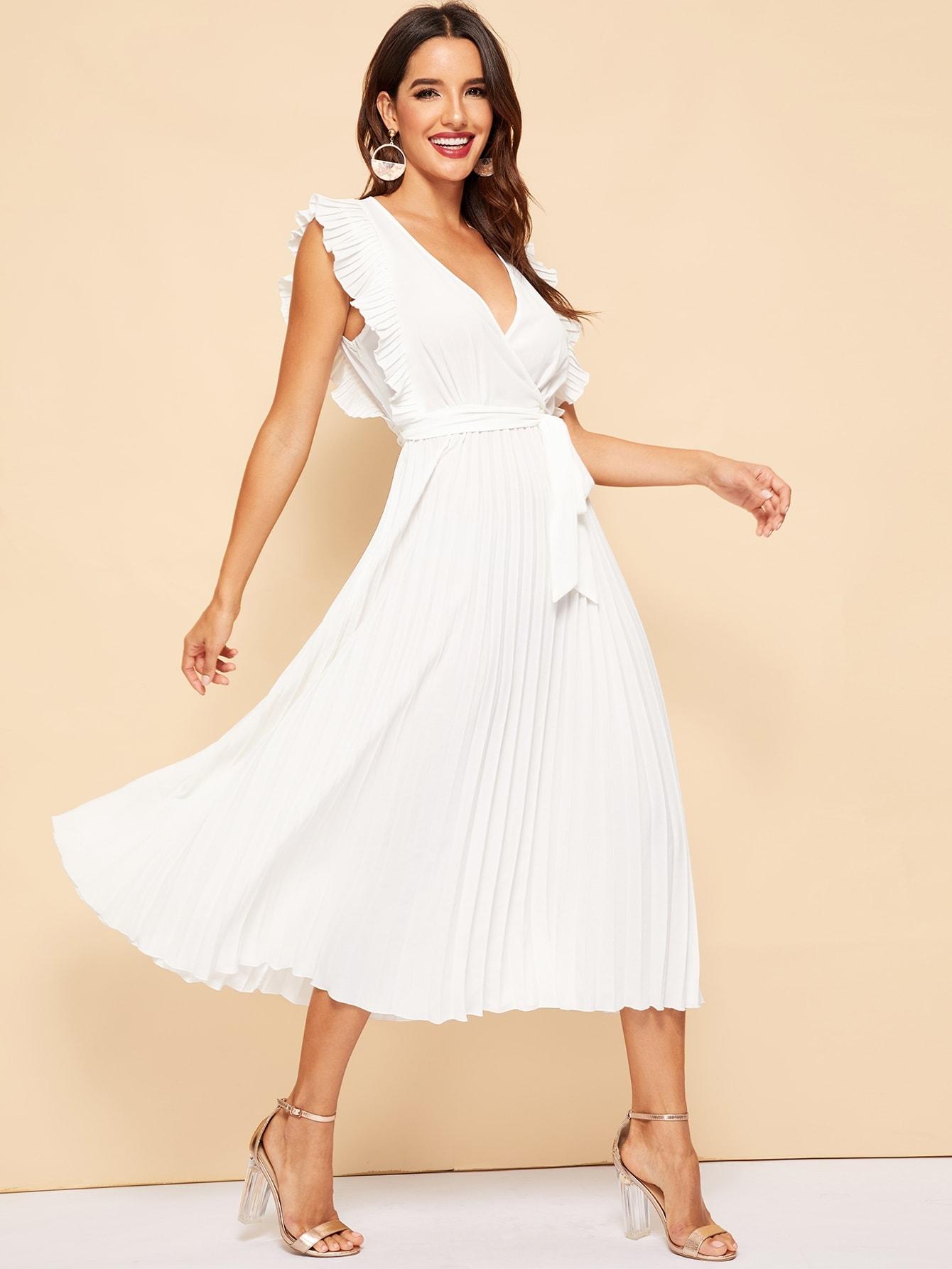 Купить Прозрачное платье с глубоким v-образным вырезом и оборками, Juliana, SheIn