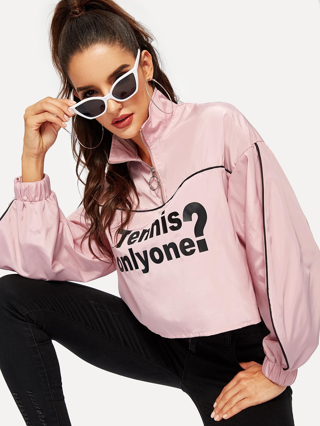 Контрастная куртка с молнией и текстовым принтом, Juliana, SheIn  - купить со скидкой