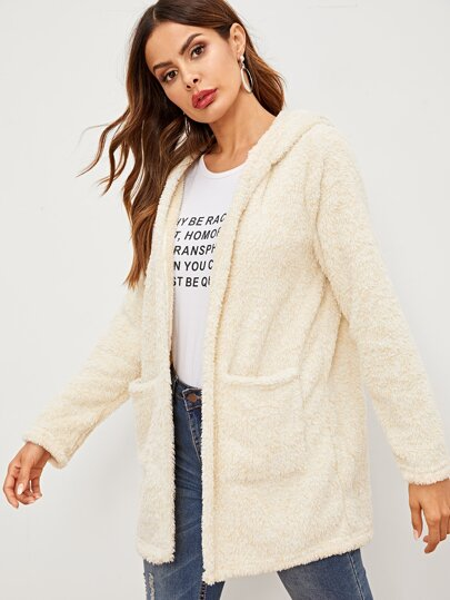 SheIn / Open Front Pocket Patch Hooded Teddy Coat
