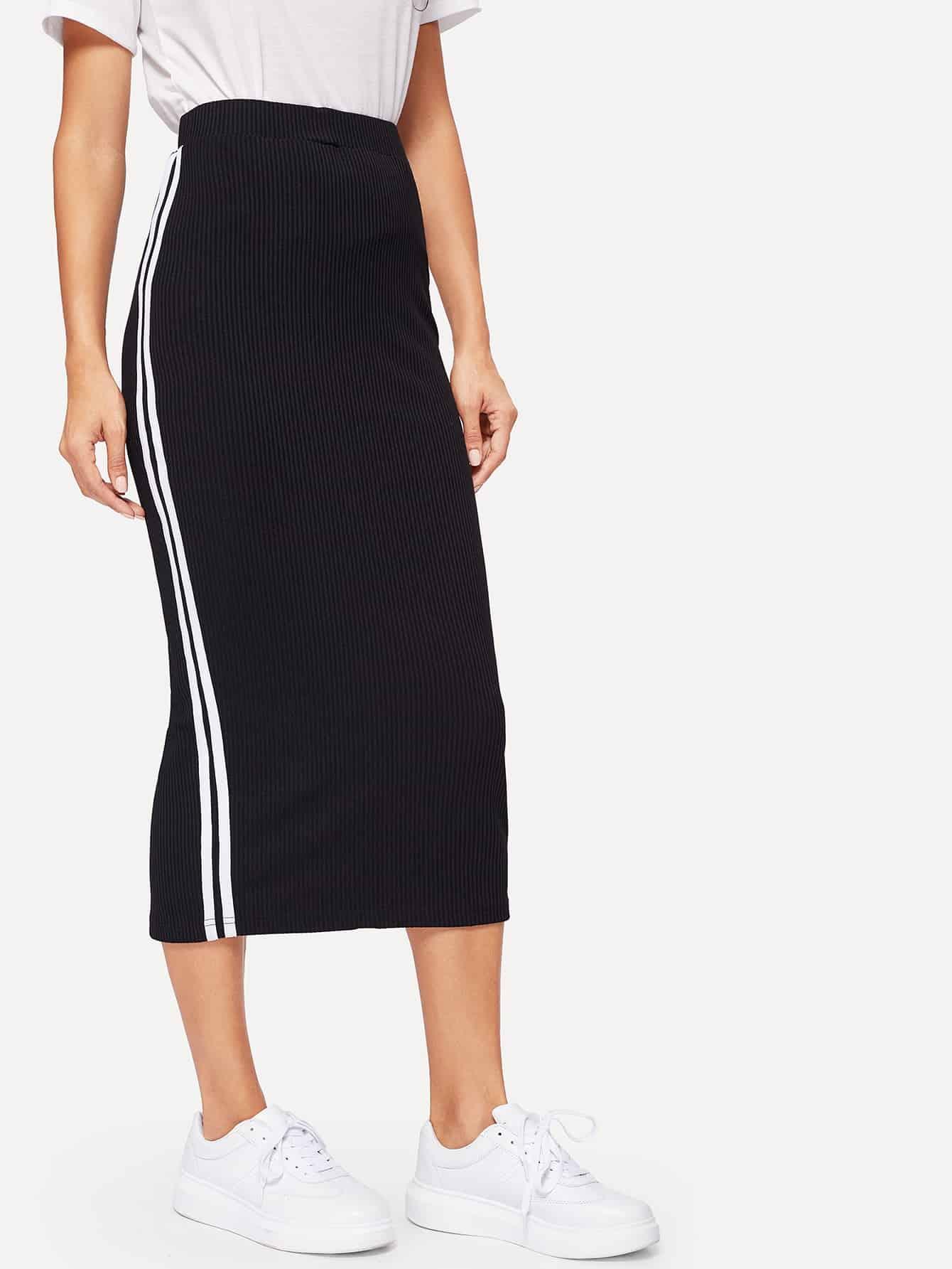 Купить Полосатая вязяная ребристая юбка с разрезом для девочек, Juliana, SheIn